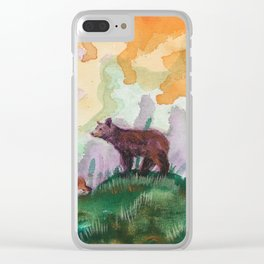 Black Bear and Cubs in Pine Forest Clear iPhone Case