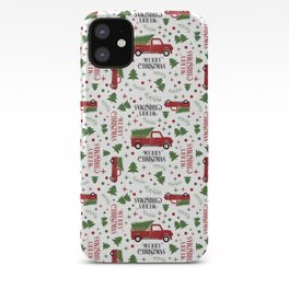 Merry Christmas Red Vintage Truck with Tree iPhone Case