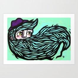 beard in the wind Art Print