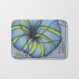 Zentangle Blue Yellow Flower Bath Mat