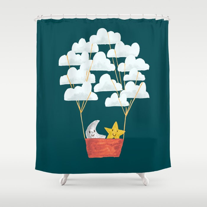 Hot cloud baloon - moon and star Shower Curtain by budikwan | Society6