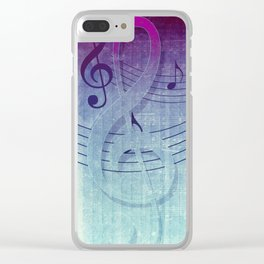 Aqua Purple Ombre Music Notes Clear iPhone Case