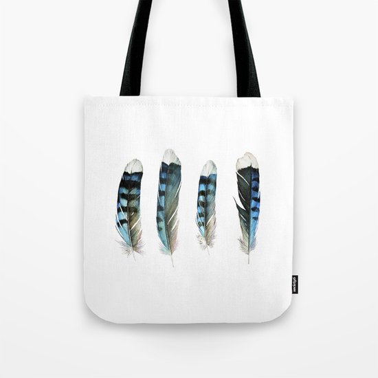 Blue Jay Feather Group Tote Bag