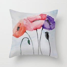 Poppies no 3 Throw Pillow