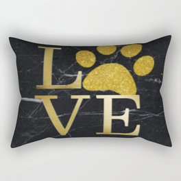 Love is a Four Letter Word - Black and Gold Rectangular Pillow