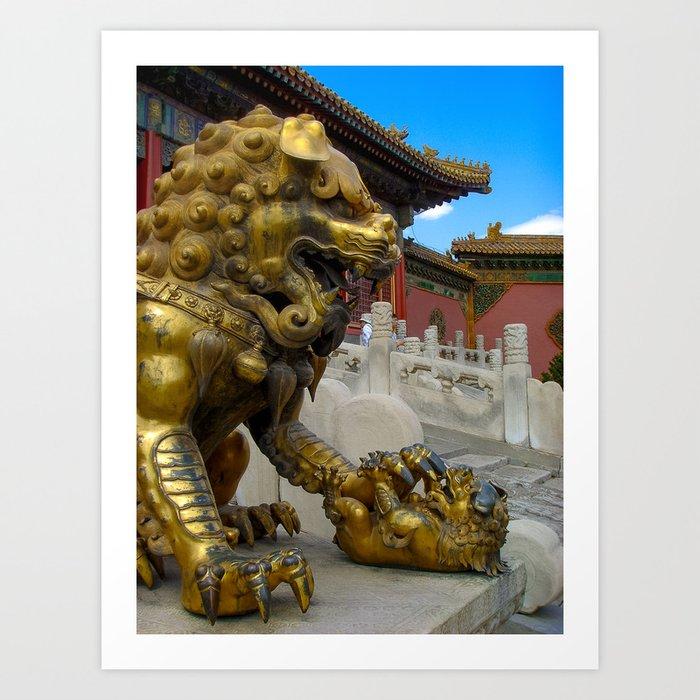 Mother Lion. Beijing Forbidden Palace. Art Print