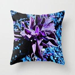 Indigo purple succulent plants alien planet Throw Pillow