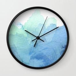 Abstract Watercolor Texture Blue Green Sea Sky Colors Wall Clock