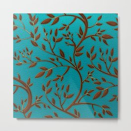 Teal Leather and Gold Tree Leaves pattern Metal Print