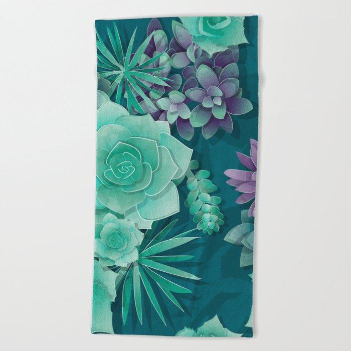 Succulent Love I Beach Towel