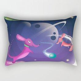 Interstellar Atomic Space Dachshunds Playing Fetch Rectangular Pillow