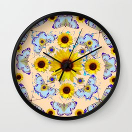 WHITE-PURPLE BUTTERFLIES YELLOW SUNFLOWERS CREAMY ART Wall Clock