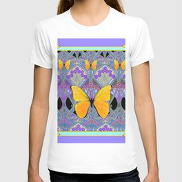 Pastel Lilac yellow butterflies Art Nouveau Design T-shirt