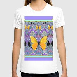 Pastel Lilac yellow butterflies Art Nouveau Design T-shirt