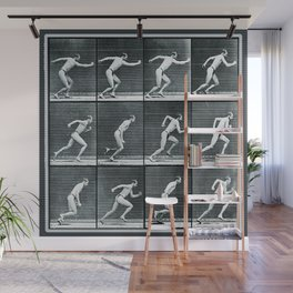 Time Lapse Motion Study Man Running Monochrome Wall Mural