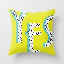 YES Poster | Lime Dalmatian Pattern Throw Pillow