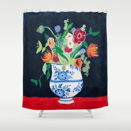 Bouquet of Flowers in Blue and White Urn on Navy Shower Curtain
