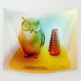 Midcentury Owl and Vase Vintage Still Life Wall Tapestry