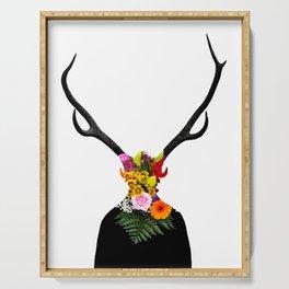 Deer head on flowers Serving Tray