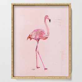 Flamingo Collage Serving Tray