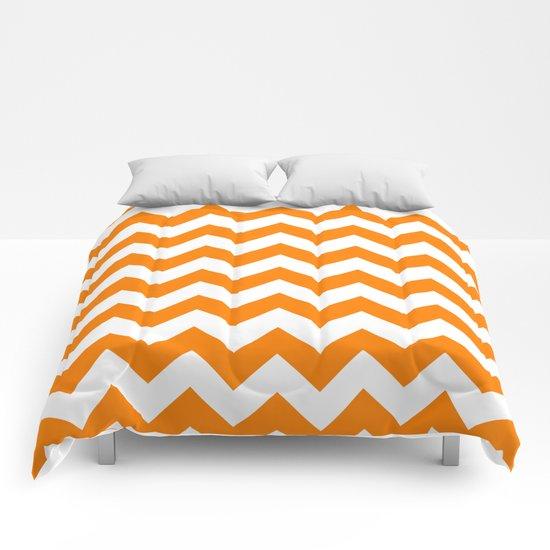 Chevron (Orange/White) Comforters