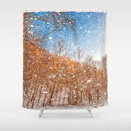 Snow Spattered Winter Forest Shower Curtain