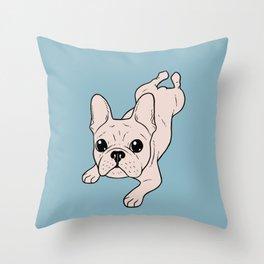 Frog Leg Cream French Bulldog Throw Pillow