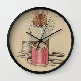 Cute little mouse reading a newspaper Wall Clock