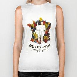 "Poster vintage french ""Buvez du vin et vivez joyeux"" (drink wine and live happy) Biker Tank"