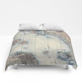 Vintage Map of San Francisco California (1914) Comforters