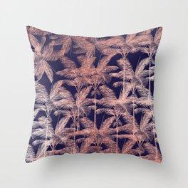 Elegant faux rose gold modern navy blue palm tree Throw Pillow