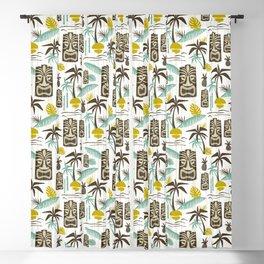 Island Tiki - White Blackout Curtain