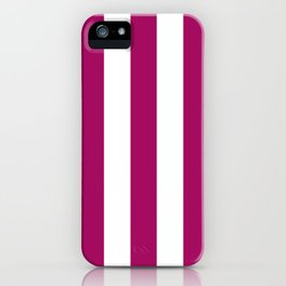Jazzberry jam violet - solid color - white vertical lines pattern iPhone Case