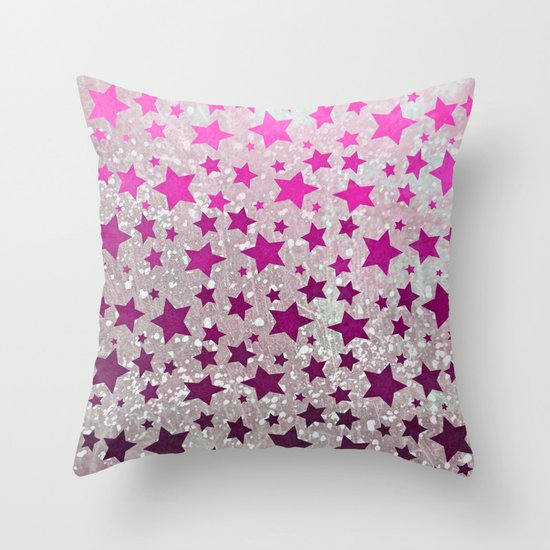 All Stars...Galaxy Pink Throw Pillow