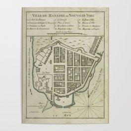 Vintage Map of Lower Manhattan (1764) Poster