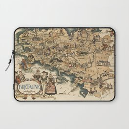Color pictorial map of Brittany, France. 1951, Jaques Liozu Laptop Sleeve