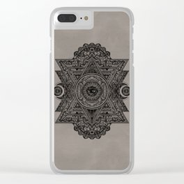 All Seeing eye in Sacred Geometry Drawing Clear iPhone Case