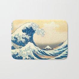 Japanese Woodblock Print The Great Wave of Kanagawa by Katsushika Hokusai Bath Mat