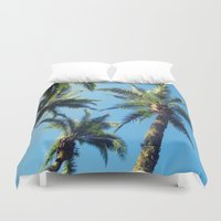 palm trees Duvet Covers featuring Palm Trees by Jillian Stanton