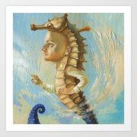 sea horse Art Prints featuring Sea horse by Nataliya Derevyanko