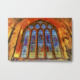 Stained Glass Window Van Gogh Metal Print