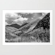 Mountains, Village, Sky. Art Print