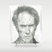 clint eastwood Shower Curtains featuring Clint Eastwood by theMAINsketch