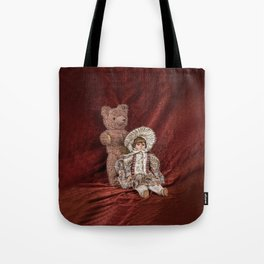 Memories of Childhood Teddy Bear and Doll Tote Bag