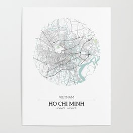 Ho Chi Minh, Vietnam City Map with GPS Coordinates Poster