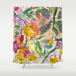 Pomegranate, Fruit and Flowers Shower Curtain
