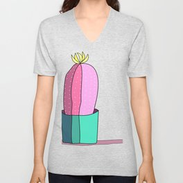 Pink and Green Cactus Drawing Unisex V-Neck