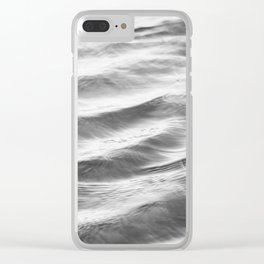 Black and White Water Ripple Photography, Grey Ocean Ripples, Gray Neutral Sea Waves, Seascape Wave Clear iPhone Case