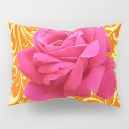 PINK ORANGE  ROSE SCROLLS GARDEN ART PATTERN Pillow Sham