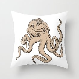 Hercules Fighting Giant Octopus Drawing Throw Pillow